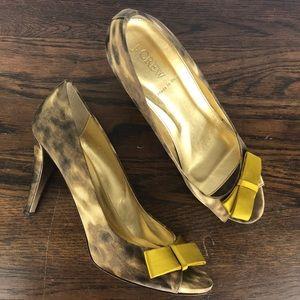 J Crew Molly Printed Peep Toe Silk Italian Heels